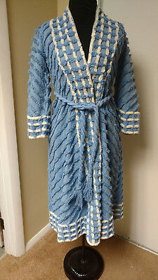 Vintage Small Vibrant Blue and White Chenille Bathrobe With Tie Size 8 Santex