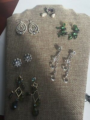 LOT OF SIX PAIR Nice Vintage Jewelry Pierced Earrings Metal Stone