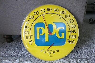 """Vtg PPG Automotive Paint Advertising Metal Thermometer~WORKS! Round 18""""~GREAT!"""