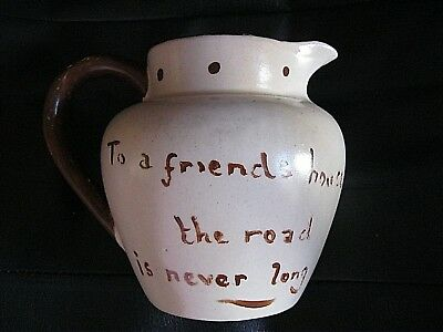 Vintage Pottery Milk Jug , Hand Painted From Lynmouth In Devon