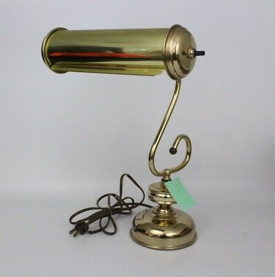 "Vintage Brass Piano Student Desk Bankers Adjustable Lamp 14.5"" EUC Tested!"