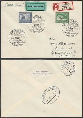 Germany 1938 - Registered Airmail cover- Zeppelin to Munich.....(4G) MV-1518
