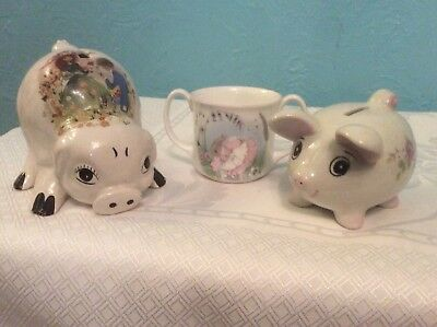 2 Vintage Piggy Bank Money Box Hand Painted White Porcelain & Mrs Rabbit Mug