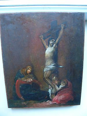 """Antique 19c Russian Orthodox Hand Painted Wood Icon """"Crucifixion of Christ"""""""