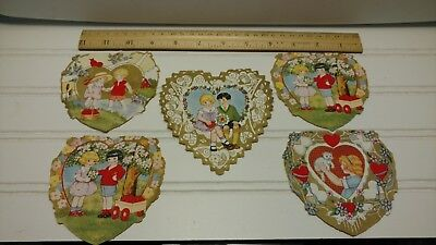 Vintage Valentine Cards-Set of 5 Embossed Heart Cards From the 1920's