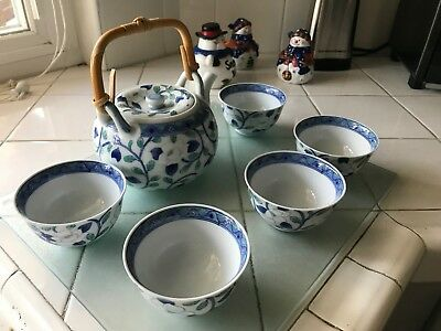 Vintage Japanese Tea set with Teapot & 5 Cups, blue, white and green