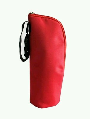 Brand New Insulated Thermal Hot Baby Bottle Zip Holder Bag Red