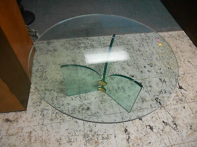 Vintage Leon Rosen for Pace Brass & Glass Round Top Coffee Table