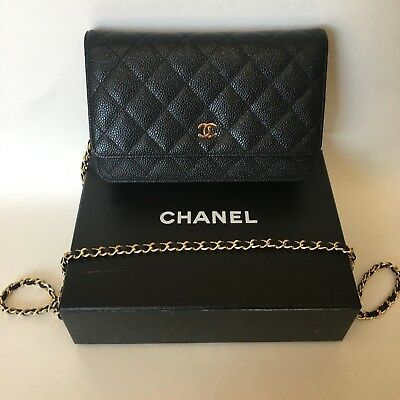 8ea06cd8ad53 AUTHENTIC Chanel Wallet on Chain Black Caviar Leather with Gold Hardware