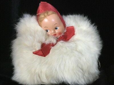 Vintage Childs Rabbit Fur 50's Muff Hand Warmer With Doll Head