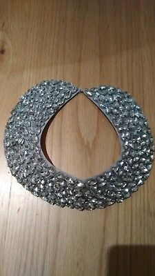 Girly Sparkle silver Beaded Fancy Neck Collar Accessory necklace Ties