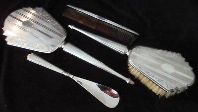 Antique English Four Piece Sterling Vanity Set