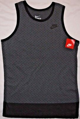 b920e0bc51d6 Mens BNWT Black Gray NIKE Retro Polka Dot Premium Graphic Tank Top Shirt sz  M