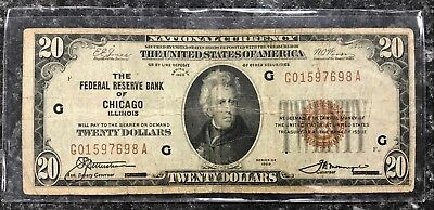 1929 $20 Chicago, Il U.s. National Currency Note Brown Seal~ Vg Condition! Nr!