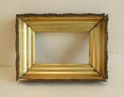 Antique Deep Well Lemon Gold Gilt Wood Picture Frame w/Glass Small
