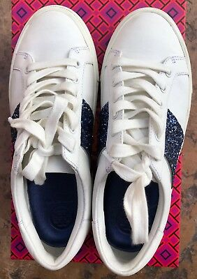 dc8a49274 USED TORY BURCH Carter Women Glitter Lace-Up Sneaker Size 6.5 White Navy  Leather