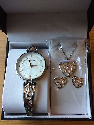 Brand New Sekonda Tree of Life Two Tone Ladies Watch, Necklace and Earrings Set