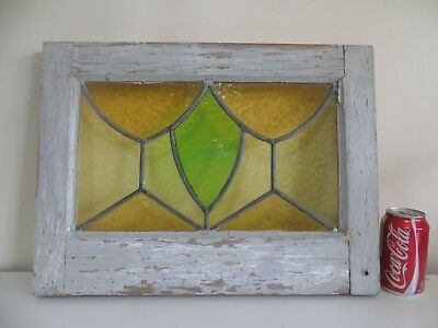 """Antique STAINED GLASS Window Leaded Full Frame Yellow Green 19 ¾"""" x 14 ¾"""""""