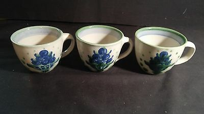 3 Vintage  M.A Hadley Pottery Coffee/Tea Mugs in the Blueberry Bouquet Pattern