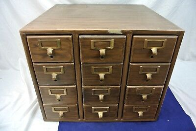 Vintage 12 Drawer Table Top Libary Index Card File Catalog Cabniet