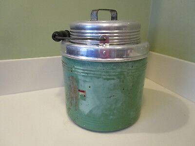 Vintage 1 Gallon Metal/Ceramic Cooler (Thermos Type). Name Worn.