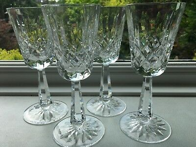 """5 GALWAY IRISH CRYSTAL CLIFDEN CUT GLASS WINE GLASSES signed facet stem 6.75"""""""