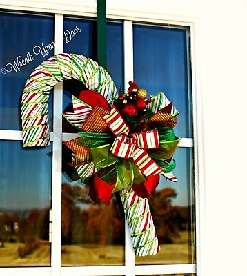 Stripe Candy Cane Christmas Candy Stripe Red-White-Green-Lime Candy Cane Wreath