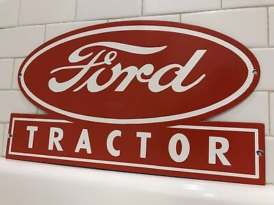 Vintage Ford Tractor Porcelain Sign Tractor Farm Plow Equipment Sales Gas Oil