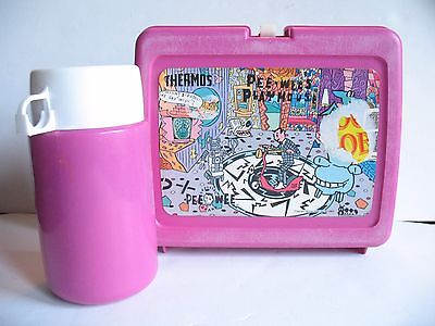 Vintage PINK Pee-Wee's Playhouse Lunch Box Lunchbox +Thermos Pee-Wee Herman