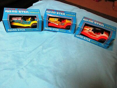 3 Vintage Tin Lever Action Roadster STP Champion Cars OLD STOCK NIB 70s Toy Lot