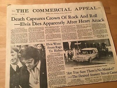 Elvis Presley Death - Memphis Commercial Appeal Newspaper  August 17, 1977 Issue