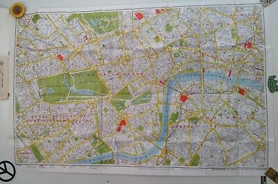 Vintage Early 1970's AZ London Map w/ Full Color Underground Map ~ Large Scale