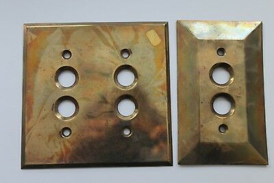 Two Antique Vintage Solid Brass Push Button Light Switch Covers Plate Single Duo