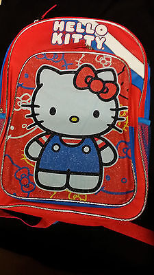 """Hello Kitty Backpack 16"""" Red, Black, and Blue with Hood"""
