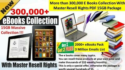 300,000+ E Books Collection with Master Resell Rights PDF 15GB Package +Bonus