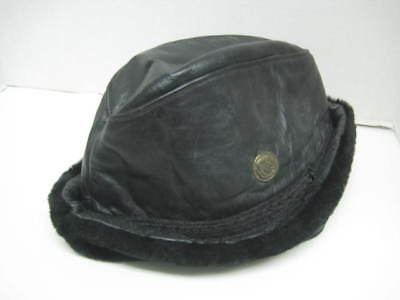 Vintage NORTH KING black Leather Bucket-Style Hat / M / Union Made in the U.S.A.