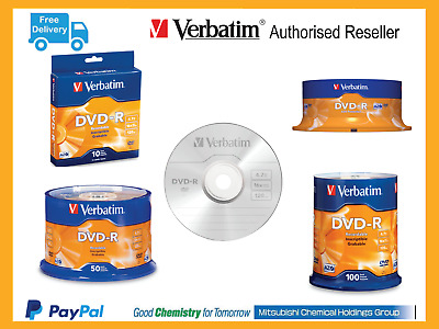 Verbatim DVD Brand Blank Disc DVD-R AZO Spindle 10 25 50 100 Pack Free Shipping