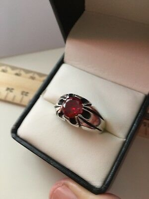 Lovely Solid Sterling Silver Faceted GARNET? RUBY? Ring 7gms Size 11.5 EX COND