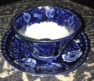 Historical Staffordshire Dark Blue Floral Urn Cup Saucer By Clews  1825