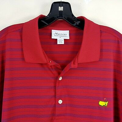 Masters Performance Golf Polo Shirt Mens XL Striped Red Blue Polyester (C1510)