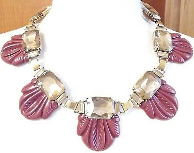 Fabulous Art Deco Style Lucite & Glass Crystal Rhinestone Statement Necklace