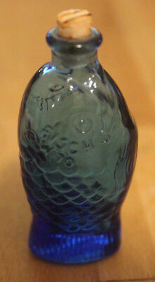 "Vintage Fisch's Bitters 3"" Mini Blue Fish Bottle with Cork, Wheaten NJ"
