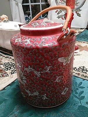 Asian Oriental Chinese or Japanese Porcelain Teapot MARKED Red Floral/ Butterfly