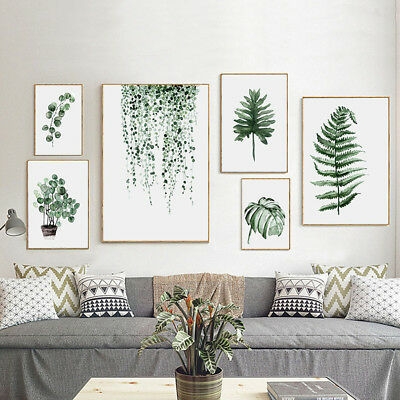 Modern Nordic Green Plant Leaf Canvas Art Poster Wall Picture Home Room Decor