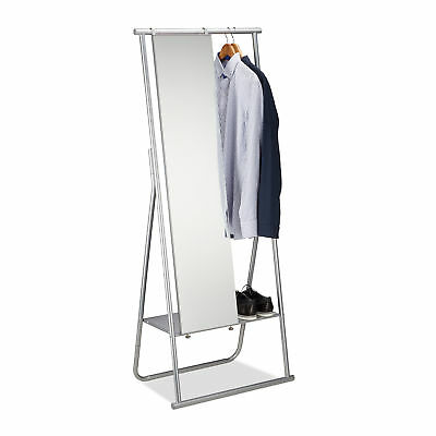 Metal Clothes Stand with Shoe Rack Garment Rail and Full-Length Mirror Silver