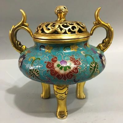 "6.8"" Old China Bronze Cloisonne Enamel Gilt Carved Flower Incense Burner Censer"