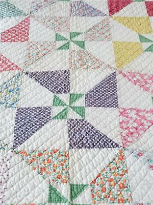 PINWHEELS!! VINTAGE 1930s QUILT FEEDSACK PINWHEELS SAWTOOTH & HAND QUILTED