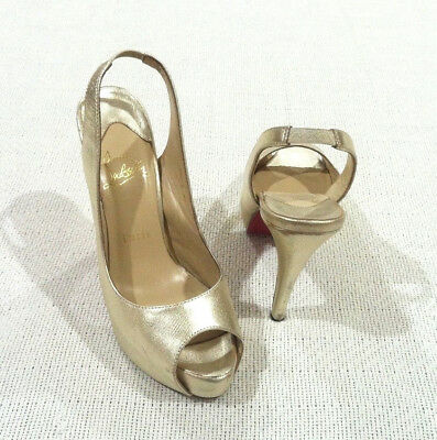 b33cf25f7c59e CHRISTIAN LOUBOUTIN METALLIC GOLD LEATHER PEEP TOE SLINGBACK HEELS sz 38