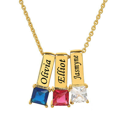Personalized Gold Sterling Silver Mother's Necklace w/ Square Shape Birthstones