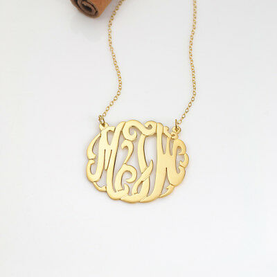 Personalized Gold & Sterling Silver Any Name Script Monogram Necklace For Her